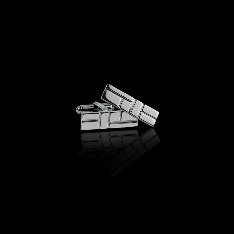 Canturi Cubism embossed cufflinks in 18ct white gold