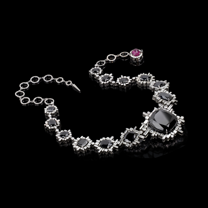 Inspired by the elegance of the beautiful night sky, Stefano Canturi presents 'Stella' featuring an 83 carat Australian black sapphire and 'Cubism' set diamonds. Created in 18ct white gold.