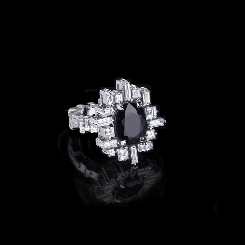 Canturi Cubism 'Stella' diamond ring featuring Australian black sapphire in 18ct white gold.