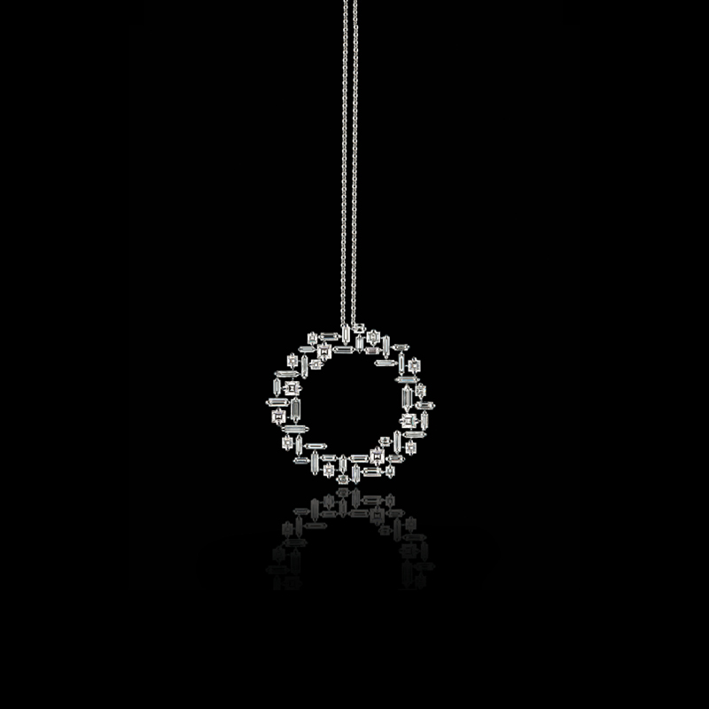 Canturi Cubism circular pendant featuring baguette and carré cut diamonds in a geometrically sculptured design. Created in 18ct white gold, also available in yellow and pink gold