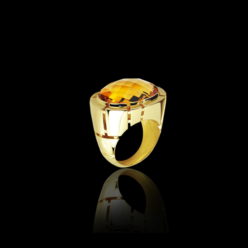Canturi Cubism cocktail ring featuring a faceted cut citrine gemstone in 18kt yellow gold.