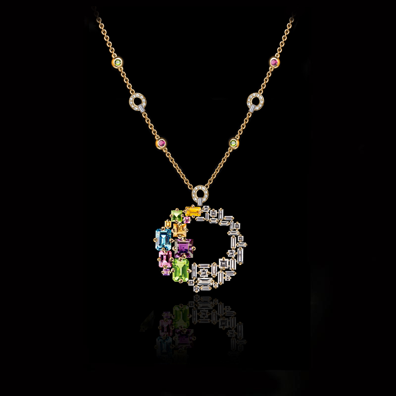 Cubism Colorburst circular diamond and colored gemstone neckpiece in 18ct yellow gold.