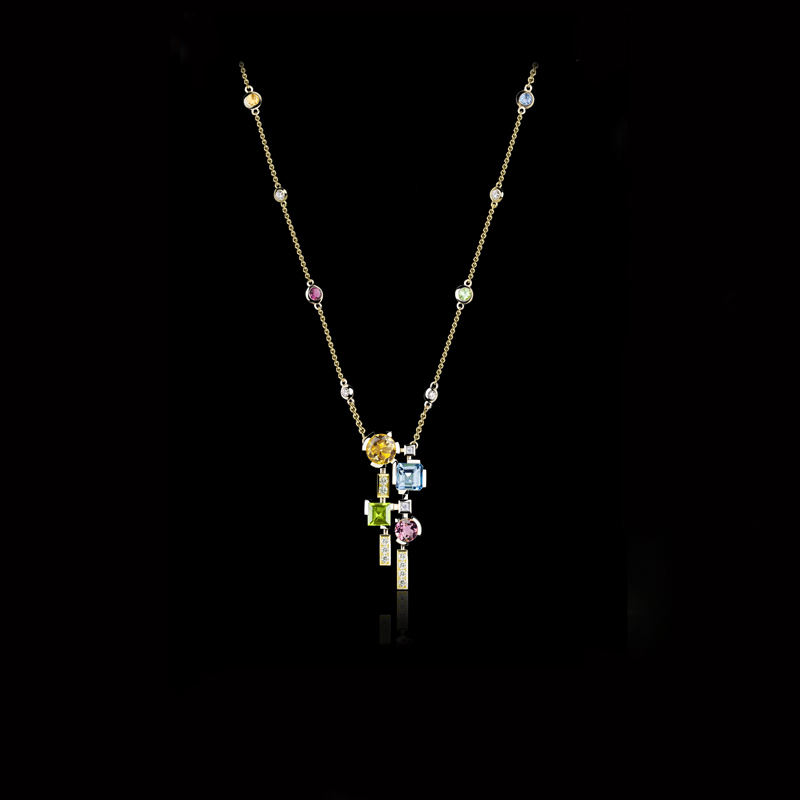 Cubism Colourburst diamond and pink tourmaline, blue topaz, citrine and peridot coloured gemstone neckpiece in 18ct yellow gold.