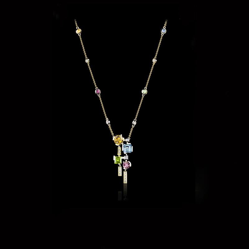 Cubism Colourburst diamond and pink tourmaline, blue topaz, citrine and peridot coloured gemstone neckpiece in 18ct yellow gold.