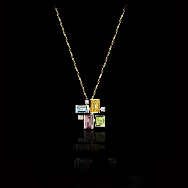 Cubism Colourburst pendant with diamonds, pink tourmaline, citrine, blue topaz and peridot gemstones in 18ct yellow gold.