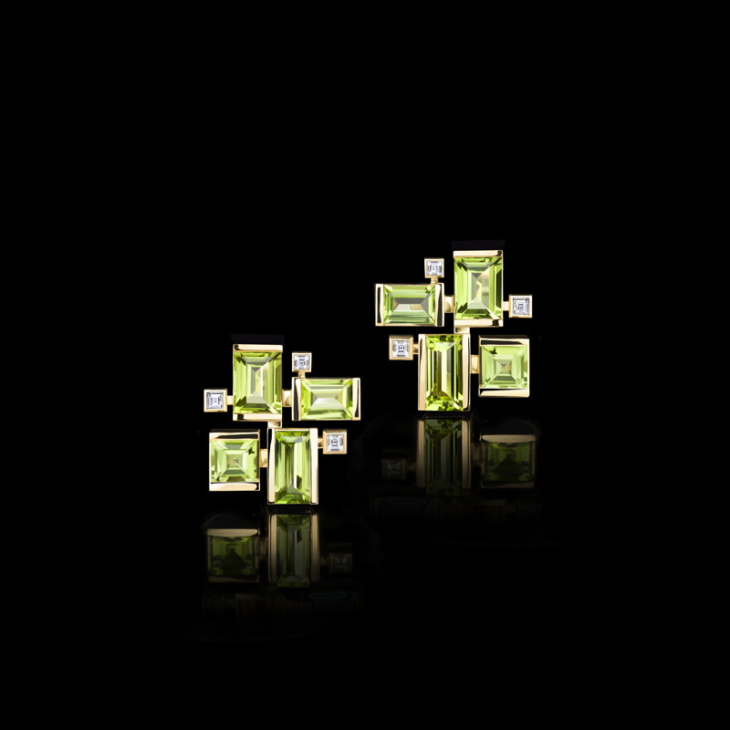 Cubism Colourburst earrings with peridot gemstones and diamonds in 18ct yellow gold. Also available in 18ct white or pink gold.