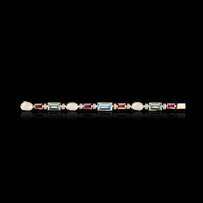 Cubism Colourburst bracelet with diamonds, moonstone, aquamarine and pink tourmaline gemstones in 18ct yellow gold.