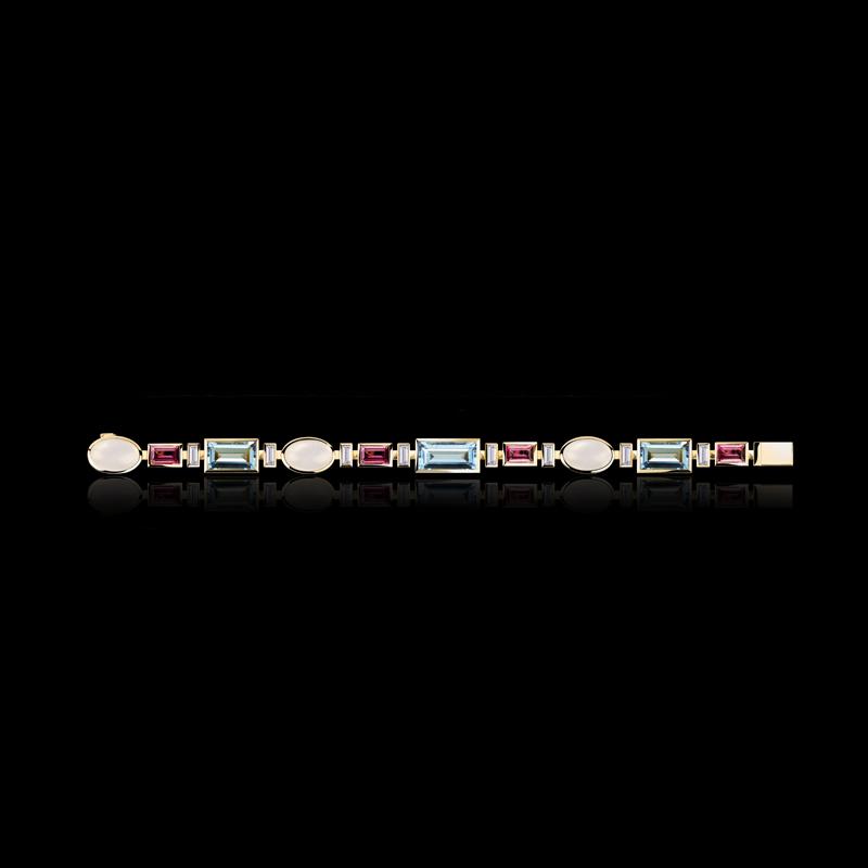 Cubism Colourburst bracelet with diamonds, moonstone, aquamarine and pink tourmaline gemstones in 18ct yellow gold.