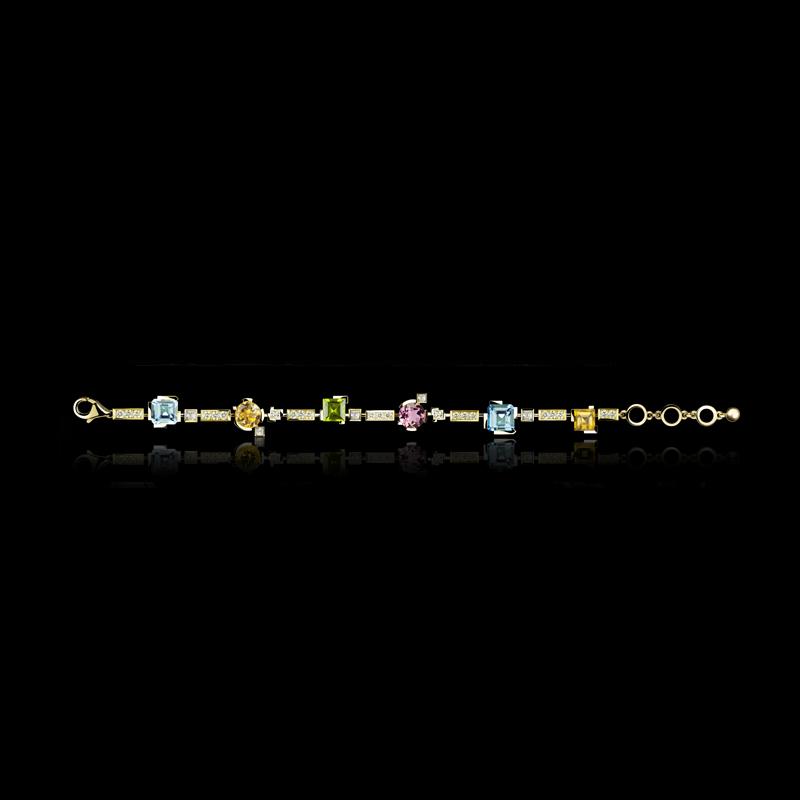 Cubism Colourburst single row bracelet with diamonds, blue topaz, peridot, pink tourmaline and citrine gemstones in 18ct yellow gold.