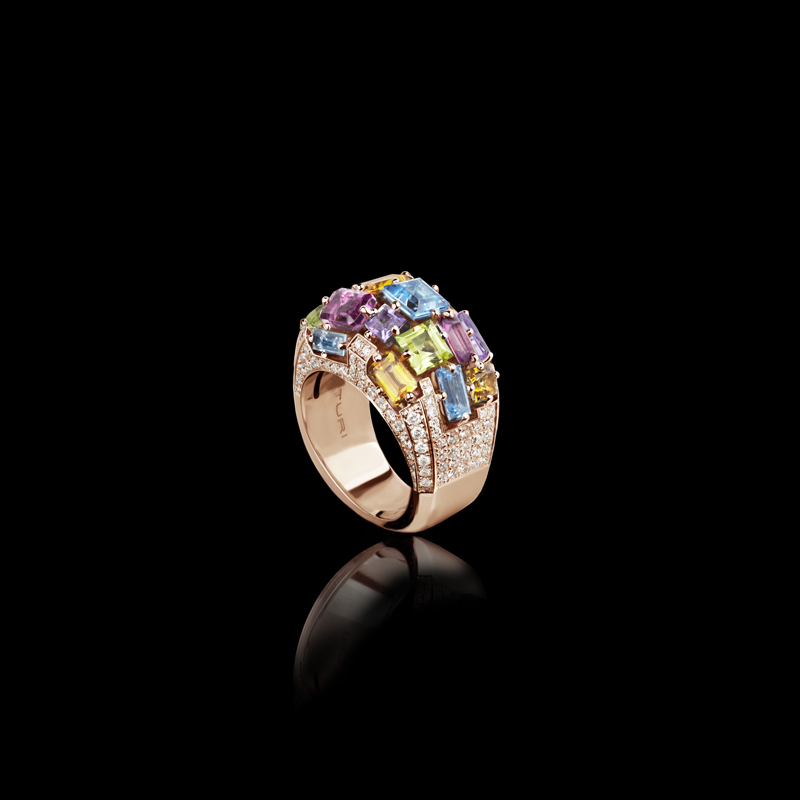 Canturi Cubism domed colorburst gemstone ring with pavé set diamonds in 18ct pink gold, also available in white and yellow gold.