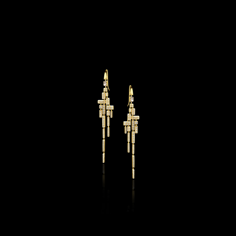 Canturi Cubism 18 drop full diamond earrings in 18kt yellow gold, also available in white and pink gold