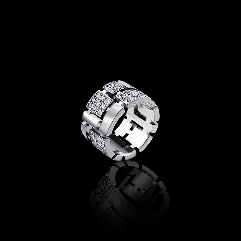 Canturi Cubism pavé full alternating diamond set ring in 18ct white gold, also available in yellow or pink gold