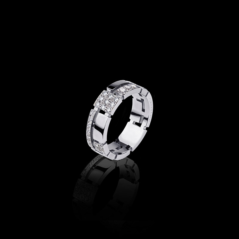 Canturi Cubism pavé 7mm half alternating diamond set ring in 18kt white gold also available in yellow and pink gold