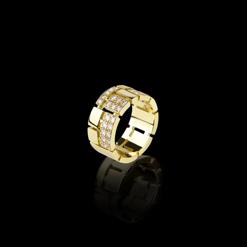 Canturi Cubism Pavé ring with alternating diamonds in 18ct yellow gold