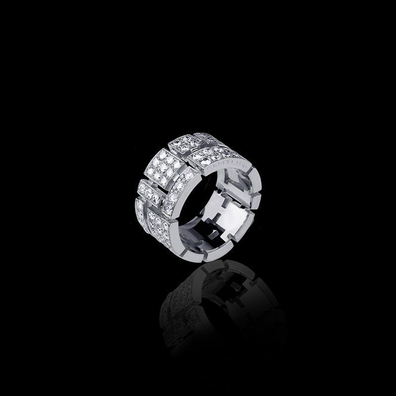 Canturi Cubism Pavé ring with full diamonds in 18ct white gold