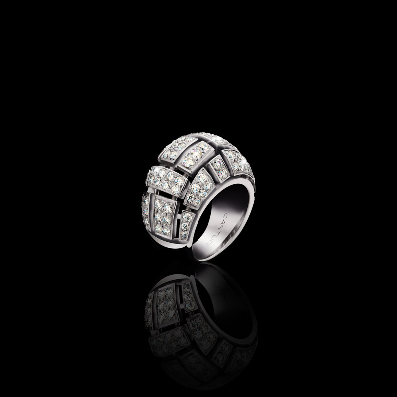 Canturi Cubism Pave domed ring featuring round brilliant cut diamonds in 18ct white gold, also available in yellow and pink gold.