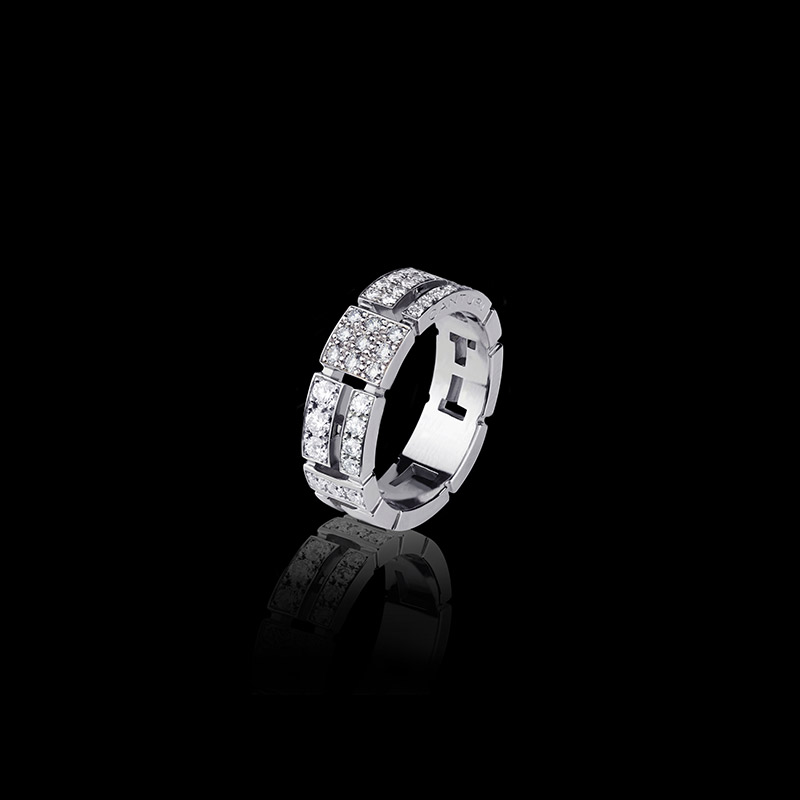 Canturi Cubism pavé 7mm half full diamond set ring in 18kt white gold also available in yellow and pink gold