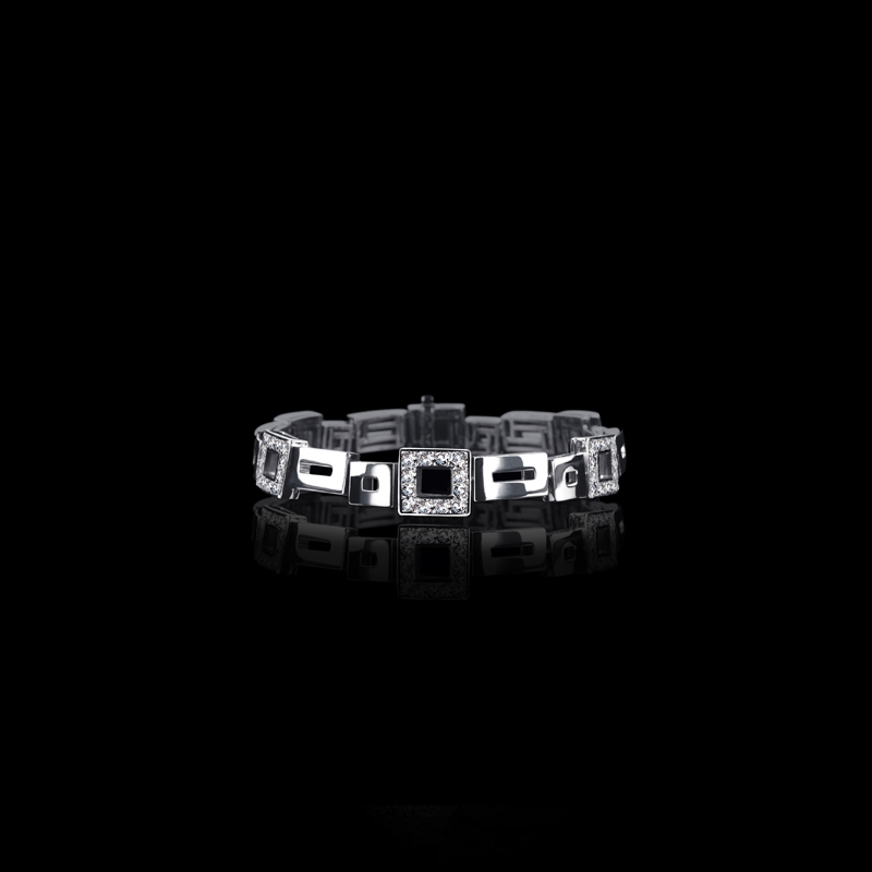 Canturi Geometric alternating diamond set bracelet in 18ct white gold, also available in yellow and pink gold.