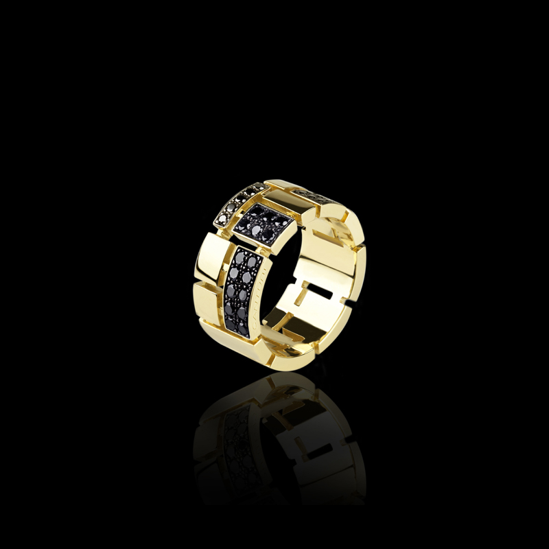 Canturi Cubism pavé half alternating black diamond set ring in 18ct yellow gold, also available in white or pink gold