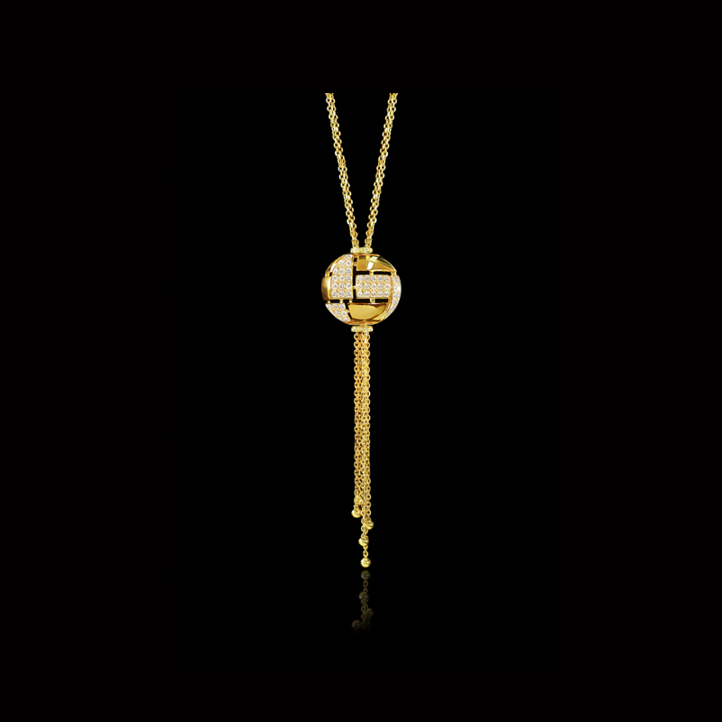 Cantrui Cubism pavé alternating diamond set globe necklace featuring a unique adjustable clasp for variable desired lengths in 18kt yellow gold, also available in white gold.
