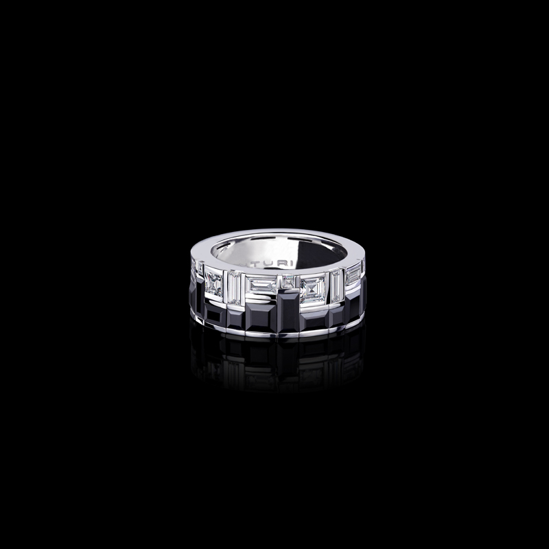 Canturi Cubism Radiant 2 row ring featuring baguette and carré cut diamonds and Australian black sapphires in 18ct white gold, also available in yellow or pink gold