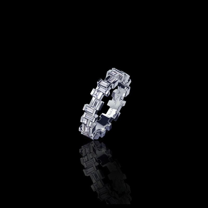 Canturi Cubism Radiant band with baguette and carré cut diamonds in 18ct white gold, also available in yellow gold, pink gold and platinum.