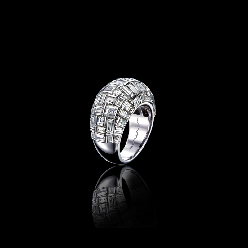 A spectacular Canturi Cubism interlocking baguette and carré cut diamond ring in a domed design, created with 18ct white gold, also available in yellow and pink gold