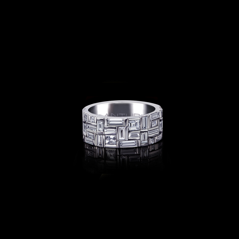 Canturi Cubism wide ring featuring baguette and carré cut diamonds in 18ct white gold, also available in yellow and pink gold