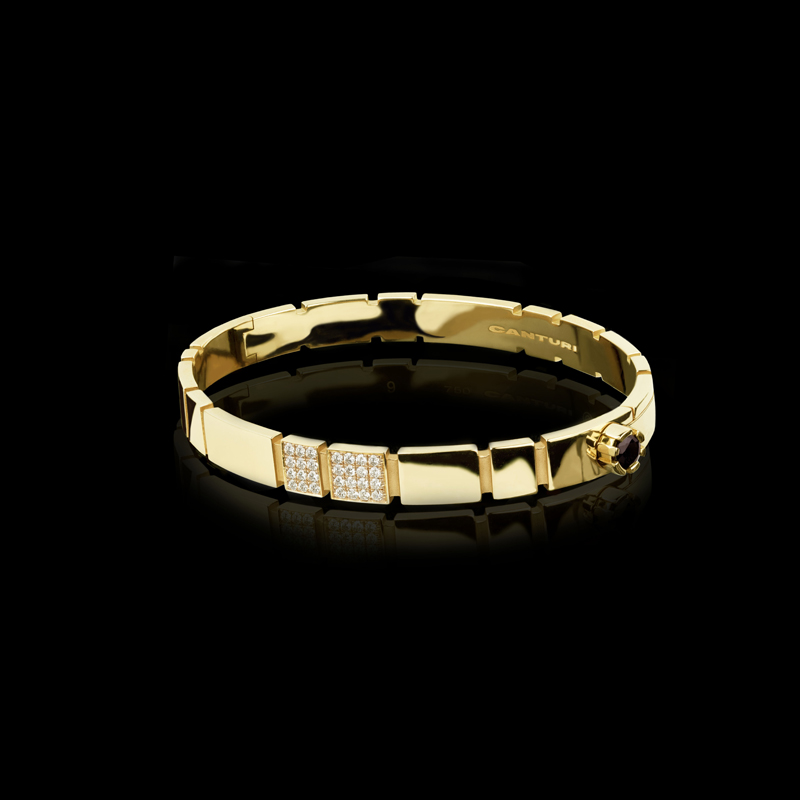 Canturi Eternal bracelet with alternating diamonds in 18ct yellow gold.  Also available in 18ct white or pink gold