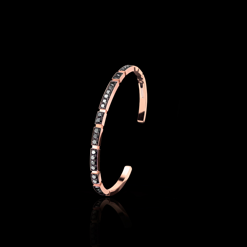 Canturi fine Eternal bracelet with full set black diamonds and ruby in 18ct pink gold. Also available in 18ct white or yellow gold.