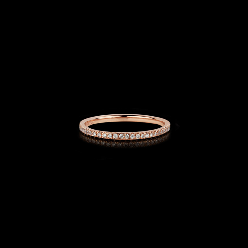 Canturi Renaissance fine micro comfort scalloped diamond wedding band in 18ct pink gold, also available in white or yellow gold.