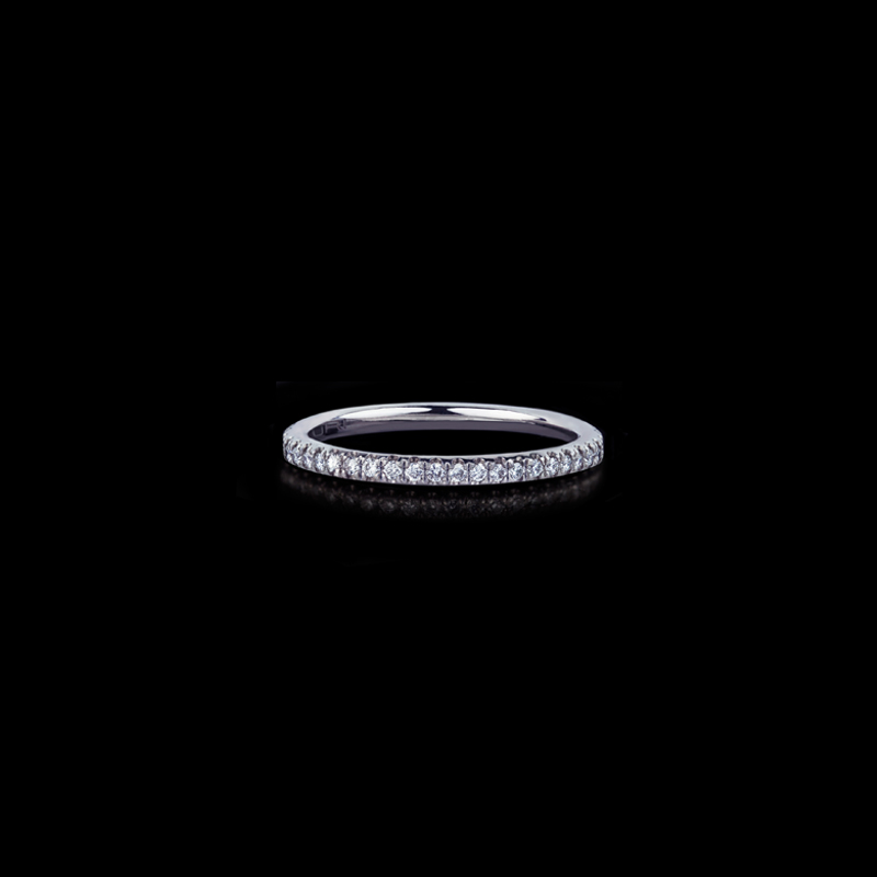 Canturi Renaissance fine micro comfort scalloped diamond wedding band in 18ct white gold, also available in yellow or pink gold.
