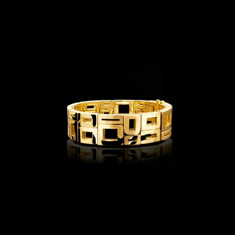 Canturi Geometric 2 row cuff in 18ct polished yellow gold.