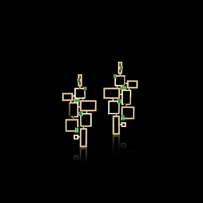 Geometric Lace earrings with diamonds and green emeralds in 18ct yellow gold.