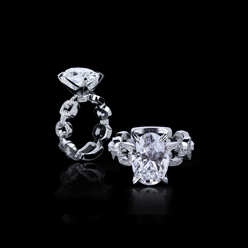 Canturi Link diamond ring with Oval cut diamond in 18ct white gold. Also available in a variety of gemstone shapes and sizes.