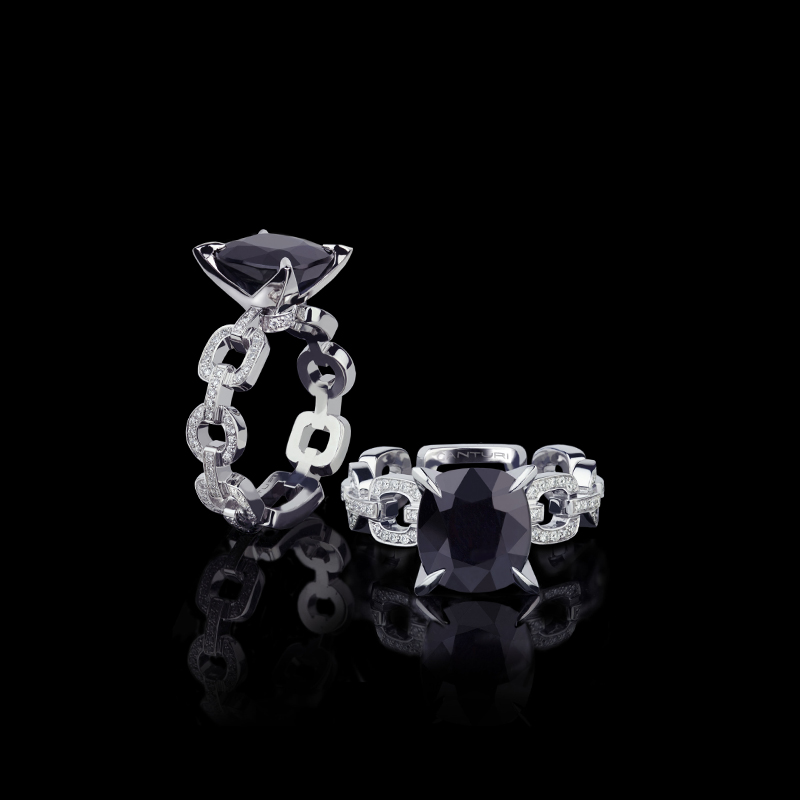 Canturi Link diamond ring with Australian black sapphire in 18ct white gold.  Also available in a varity of gemstone shapes and sizes.