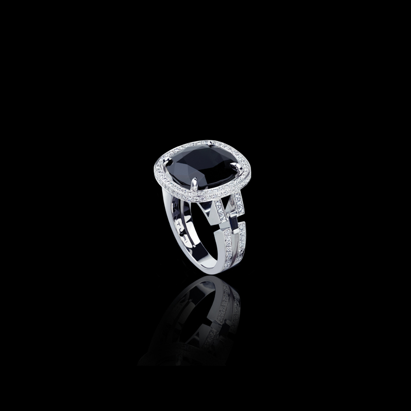 Single Diamond Enement Ring | Metropolis Australian Black Sapphire Ring With Diamonds