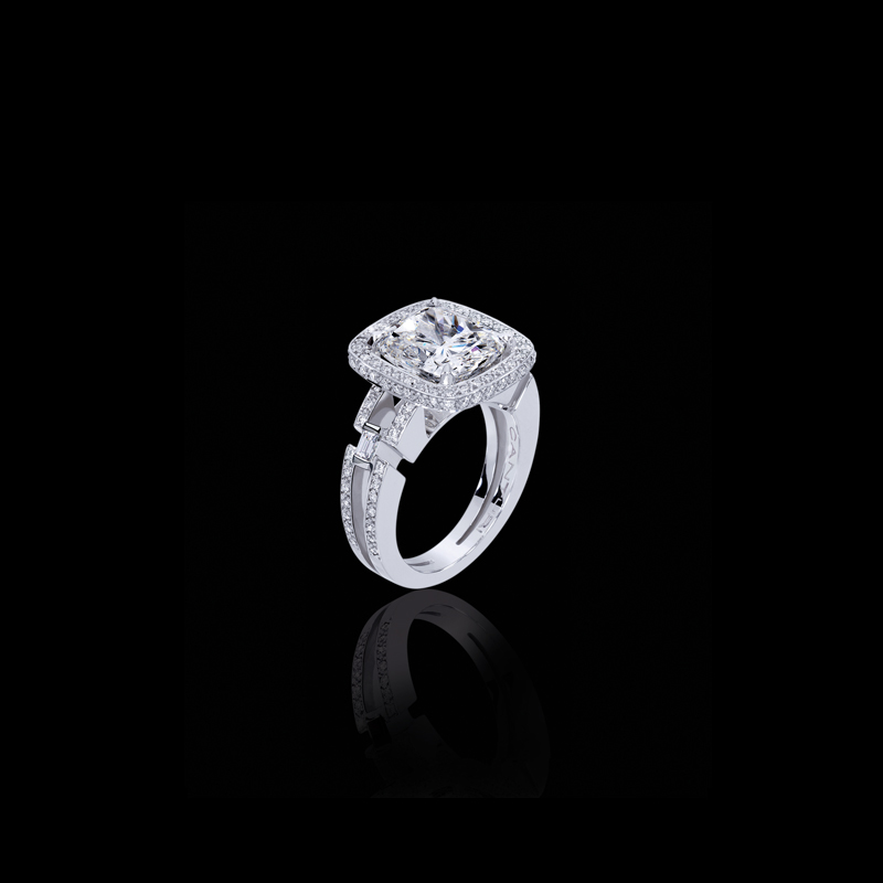 Metropolis diamond ring with cushion cut diamond in 18ct white gold, also available in yellow gold or pink gold.