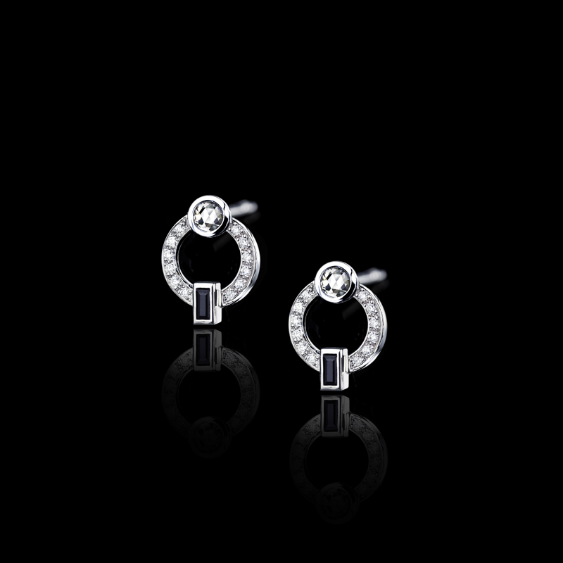 Canturi Metropolis circular diamond earrings featuring Australian black sapphires in 18ct white gold.