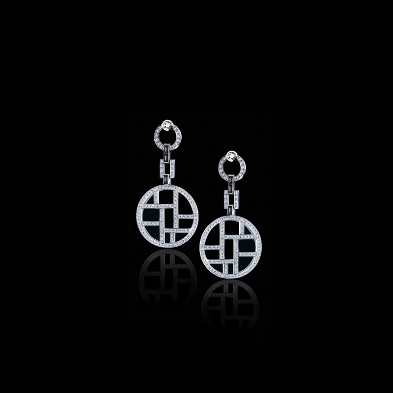 Canturi Metropolis diamond earrings, with Vintage rose cut diamonds and Australian black sapphire baguette detail in 18ct white gold.