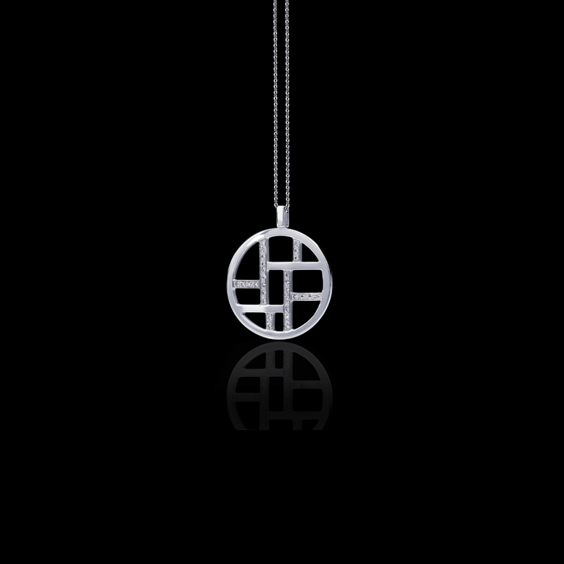 Canturi Metropolis alternating diamond set woven pendant and chain in 18ct white gold, also available in yellow and pink gold