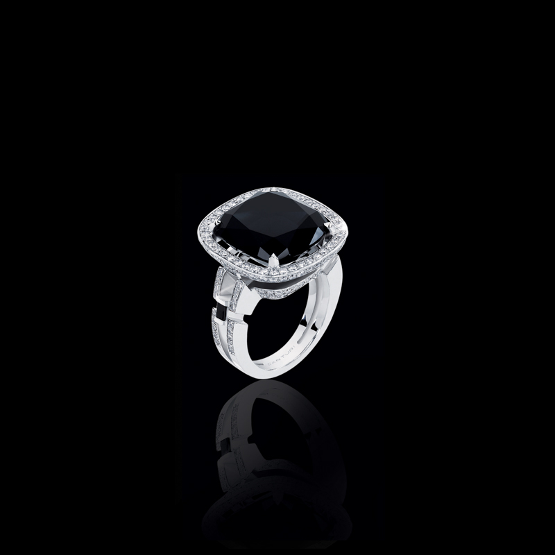 Canturi Metropolis cushion cut Australian black sapphire and diamond ring. Also available in a variety of gemstone shapes and sizes.  In 18ct white gold, also available in yellow gold or pink gold.