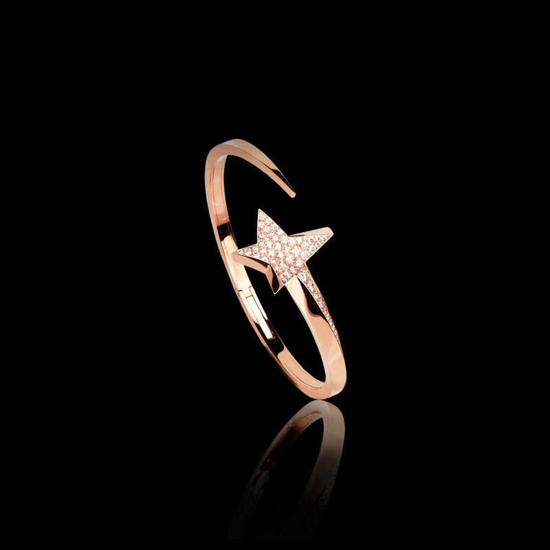 Canturi Odyssey diamond Star bangle in 18ct pink gold. Also available in 18ct white and yellow gold