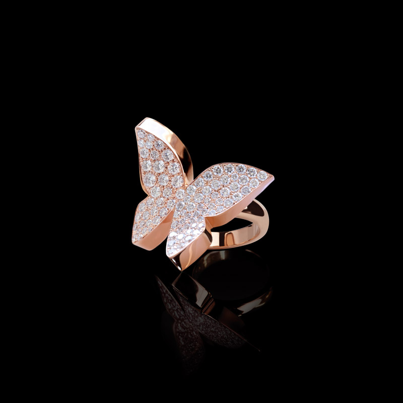 Odyssey Butterfly Ring With Full Pav 233 Diamonds In Pink Gold