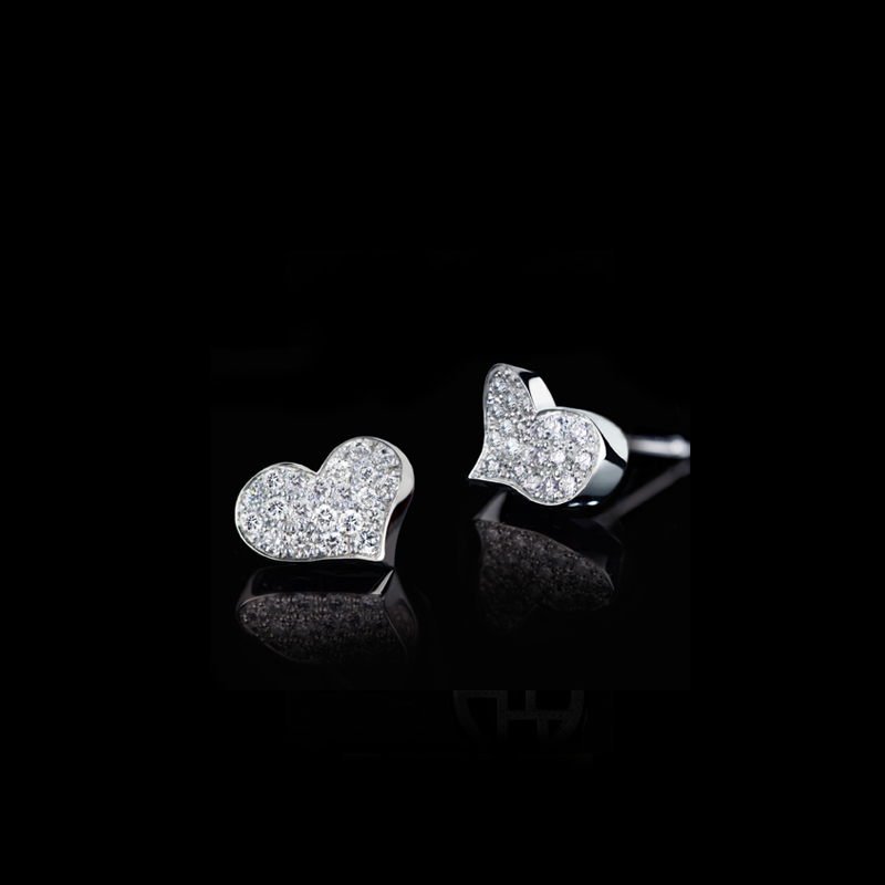 Canturi Odyssey full diamond Heart earrings in 18ct white gold, also available in yellow or pink gold.