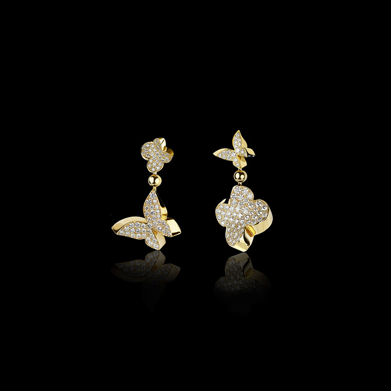 Canturi Odyssey multi-shape drop earrings with diamonds in 18ct white gold