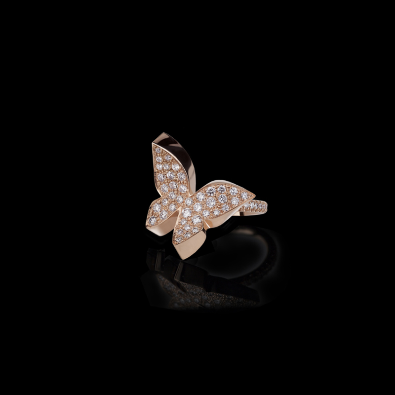 Canturi Odyssey small butterfly ring with full pavé diamonds on a comfort diamond band.  In 18ct pink gold.