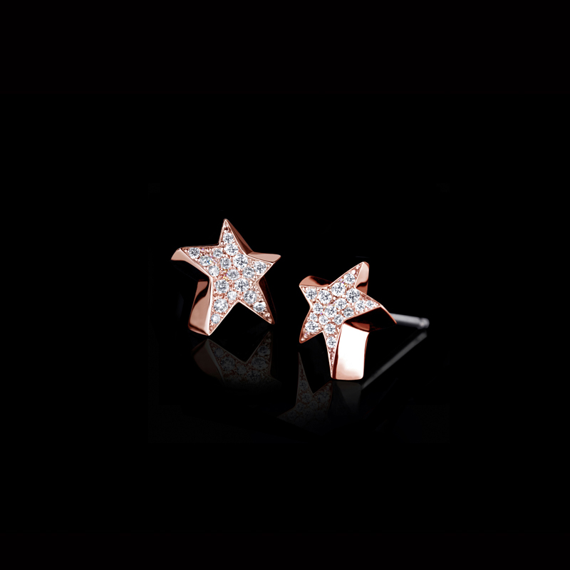 Canturi Odyssey full diamond star earrings in 18ct pink gold, also available in white or yellow gold.