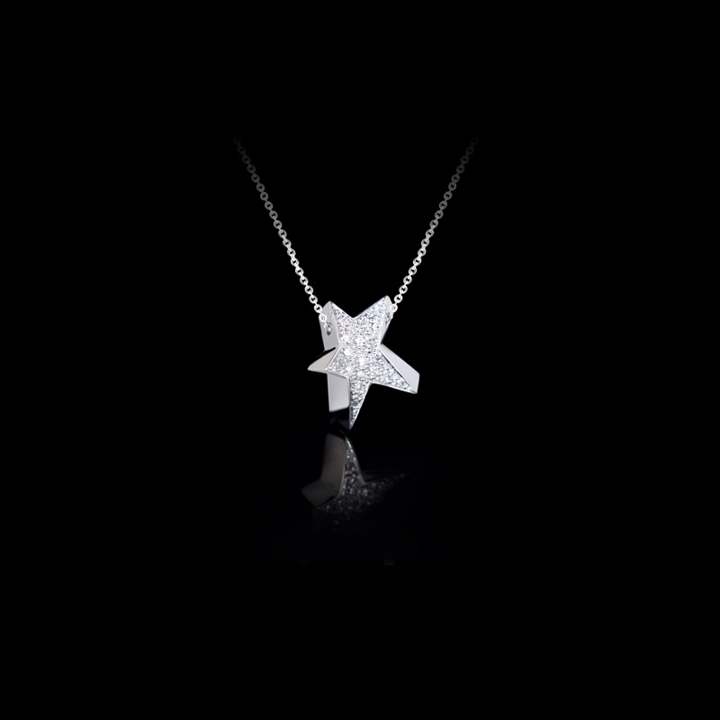 Canturi Odyssey full diamond star pendant and chain in 18ct white gold, also available in yellow or pink gold