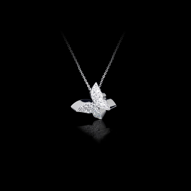 Canturi Odyssey butterfly diamond pendant in white gold